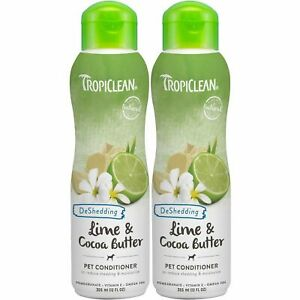 2 x TropiClean Lime & Cocoa Butter Pet Shampoo, Shed Control 335ml Omegas 3 & 6