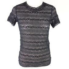 MARC CAIN Damen Shirt N3 38 Schwarz Spitze Stretch GC4806J41 Kurzarm NP 129 NEU