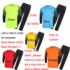 Custom Long Sleeve Soccer Goalkeeper Jersey+Long Pants Adults Kids More Choice