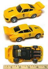 1980 Bachmann SuperTrax PORSCHE CARRERAs 1:32ish SLOT CAR Sharp Yellow #1 Unused