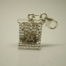 3D Christmas Fireplace Sterling Silver Charm