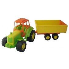Tracteur et remorque 70 cm en plastique, enfant, jouet, jeux pas cher neuf