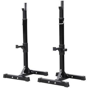 2PCS Adjustable Standard Solid Squat Stands Rack Barbell Free Press Bench Black