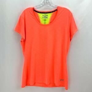 Under Armour Shirt Womens Large Orange Heat Gear Cap Sleeved Stripe