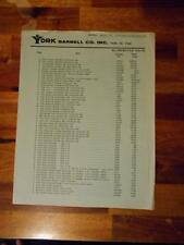 YORK BARBELL COMPANY Gym Equipment products ORIGINAL Price List (4 pages) 1-74