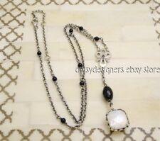 Pandora Sterling Silver ELEGANT SINCERITY NECKLACE Onyx Mother of Pearl 590318MP