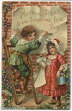 "1910 ""MOTHER DEAR"" EMBOSSED LITHO POSTCARD Cute Boy & Girl"