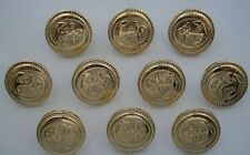 Gold Anchor Embossed Buttons x 10 ( Plastic ) LARGE