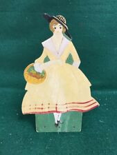 Vintage String / Twine Holder/ Hand Painted Lady with flowers