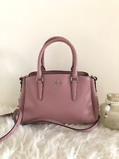 Coach Mini Sage Patent Leather Chain Carryall Satchel Crossbody Dusty Rose
