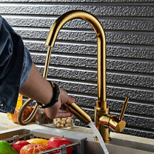 Gold Pullout Spray Laundry Filler Tap 1-Handle Brass Kitchen Faucet Swivel Spout