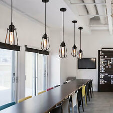 Industrial Warehouse Steampunk Pipe Pendant Light Ceiling Cage Lamp Bulb Vintage
