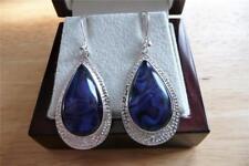 LARGE 925 STERLING SILVER BLUE ABALONE PAUA SHELL DROP DANGLE HOOK PEAR EARRINGS