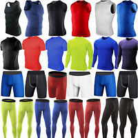 Mens Compression Base Layer Skins Sports T-Shirts Tank Top Vest Leggings Shorts