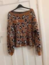 Brown Black white Leopard print Crew Neck Long sleeve Jumper Size 10 ex cond