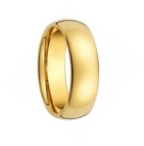 Mens Tungsten Carbide Ring Gold Mirrored Dome Band Wedding Engagement 8mm