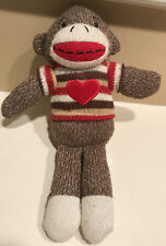 """10"""" Hand Knit Sock Monkey Striped Sweater with Heart DanDee Collectors Choice"""
