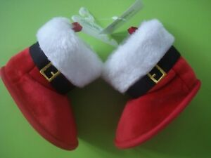 CHILDRENS HOLIDAY SANTA'S BOOT SLIPPERS VELVET FAUX FUR CUFF SIDE OPENING SIZE 3