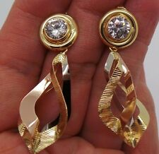STUNNING 18K TRI-COLOR ROUND CZ DANGLING EARRING A7488-1  6.60 grams