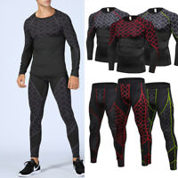 Compression Athletic Legging Long Pants Shirt Mens Workout Running Training Wear