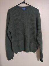 J. Crew Wool Green Crew Neck Cable Knit Pull Over Preppy Sweater - Men's Large L