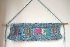 HAND KNITTED ALLOTMENT BANNER. SHED DECOR. EASTER GIFT IDEA?