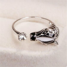 Women Lady New Zebra Horse Head Rhinestone Adjustable Opening Finger Ring Gift