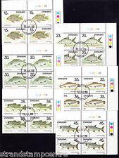 Zimbabwe - 1989 Fishes (1st Series) - CTO - CORNER BLOCKS of FOUR - SG 756-61