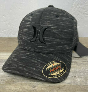 New HURLEY Icon Texture FlexFit Hat Black Gray Size M/ L / XL NWT Flex
