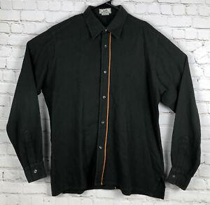 HERMES Men's Long Sleeve Cotton Button Front Shirt Size 41 16 Green