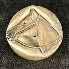 VTG Escutcheon Metal Picture Sewing Coat Button Horse Head Equestrian 1.25""