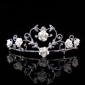 5cm High Beautiful Wedding Bridal Prom Handmade Ceramic Rose White Heart Tiara