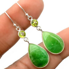Chrysoprase and Peridot 925 Sterling Silver Handmade Earrings Jewelry SDE27756