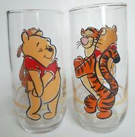 "Winnie The Pooh and Tigger Disney Drinking Glasses Juice 6"" High Set 2 Vintage"