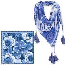 "Laurel Burch INDIGO FLOWERS 35"" Square Neck Scarf with Tassels Wrap NEW 2016"