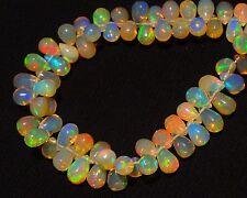 """Natural Gem Ethiopian Opal Super Electric Fire Play Drop Shape Briolettes 6"""""""