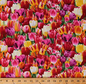 Cotton Tulips Tulip Fields Flowers Spring Dutch Floral Fabric Print BTY D573.42