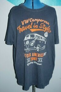 Mens Retro VW logo T-shirt LARGE volkswagon campervan beetle golf polo collector