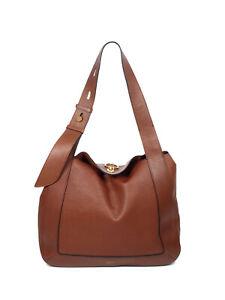Mulberry Oak Classic Grain Leather Marloes Hobo Shoulder Bag