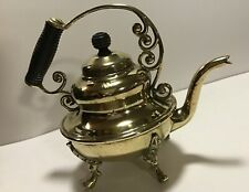 Antique Ornate brass footed teapot with wooden scrolled handles