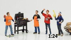 Tailgate Grill Party Figurine Set 4 Pcs 1:24 American Diorama No Car