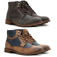 Mens Ankle Lace Up Causal Chelsea Retro Brogue Boots Smart Desert Military Shoes