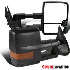For 1999-2002 Silverado Sierra Black Power Heated Tow Mirrors+Amber LED Signal