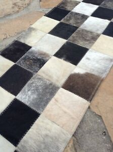 cowhide patchwork table runner carpet leather animal skin 14