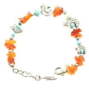 """Artisan Crafted Sterling Silver Bear Charm & Turquoise Bead 6.5""""-7.25"""" Bracelet"""