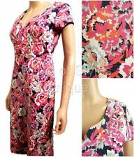 New MISTRAL Pink Floral Jersey Short Sleeve Casual Summer Tea Dress Size 8 - 16