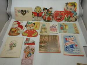Lot of 21 Vtg 1920-1950's Valentines Birthday Christmas Cards Ephemera - Signed