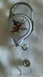 Walt Disney Imagineering WDI Mickey Retractable Reel Pull Badge Holder White