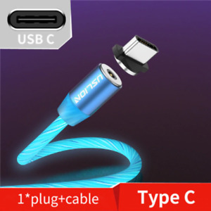 USLION Magnetic LED Light Cable Fast Charging Magnet LED Wire Cord TYPE C USB