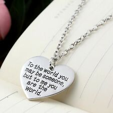 Mother's Day Gift for Mom Wife Girlfriend You are My World Heart Necklace N51